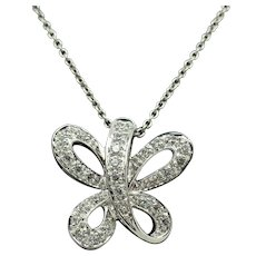 Solid Sterling Silver/925 White Gold Plated Round CZ Butterfly Pendant Necklace