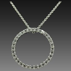 """JCM Sterling Silver/925 White Gold Plated 0.80ctw CZ Circle Pendant Necklace-18"""""""