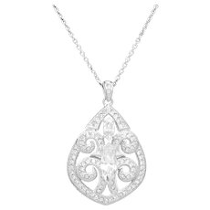 """Solid Sterling Silver/925 White Gold Plated 2.00ctw CZ Dangle Filigree Pendant Necklace-18"""""""