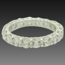 Solid Sterling Silver/925 2.70ctw Round Cubic Zirconia Eternity Band Ring 6