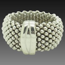 Solid Sterling Silver/925 Mesh Band Ring 6.5; Made in Italy