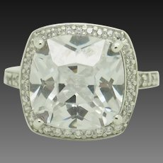 Sterling Silver/925 7.50ctw Cushon CZ Solitaire w/Accents Engagement Ring 4.75