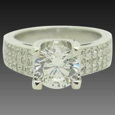 Sterling Silver/925 2.50ctw Round CZ Solitaire w/Accents Engagement Ring 5.75