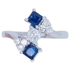 1960's Vintage 14K White Gold 1.08ctw F/VS Diamonds w/Blue Sapphire Accents Cocktail Ring 6