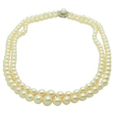 """1980's Vintage Solid 14K Yellow Gold 9mm-5mm Graduated Cultured Double Strand Pearl Necklace-15.5"""""""