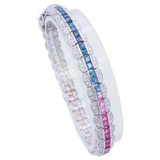 "Solid 14K White Gold Princess Cut 12.5ctw Multi-Color Topaz Gemstone w/Round Cut Natural Diamond Accents Tennis Bracelet-7"""