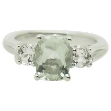 Sterling Silver/925 3.00ctw Emerald Cut Green Topaz Solitaire w/Round Cubic Zirconia Accents Cocktail Ring 7