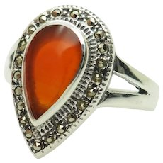 Solid Sterling Silver/925 Pear Cut Red Carnelian Gemstone with Round Marcasite Accents Cocktail Ring 7