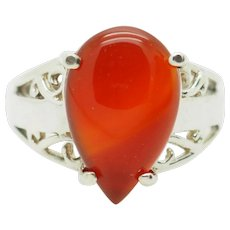 Solid Sterling Silver/925 Large Pear Cut Red Carnelian Solitaire Cocktail Ring 7