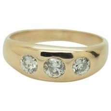 14K Yellow Gold 0.75ctw G-SI1 Round Natural 3-Stone Diamond Mens Pinky Ring 8