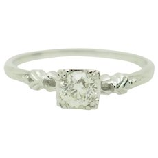 1940's Vintage 14K White Gold 0.40ct G-VS2 Old-Mine Natural Diamond Solitaire Engagement Ring 7