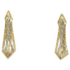 1980's Vintage Solid 14K Tri-Color Gold Dangle Drop Earrings