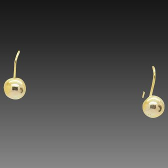 Solid 14K Yellow Gold Mini Dome Hoop Threader Earrings