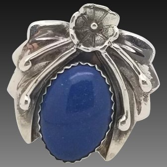 Solid Sterling Silver/925 Blue Flower Ring 9