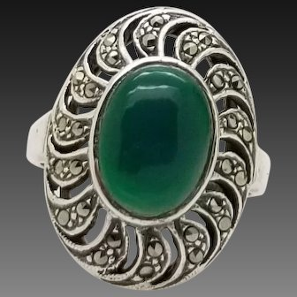 Solid Sterling Silver/925 Opal Marcasite Ring 8