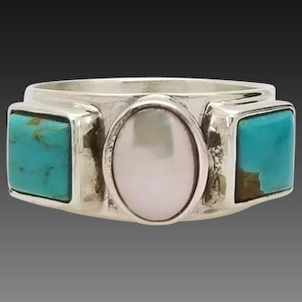 Solid Sterling Silver/925 Jade Marcasite Ring 6.75
