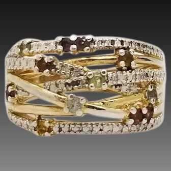 Solid Sterling Silver/925 Two Tone Multi-Color Ring 6.75