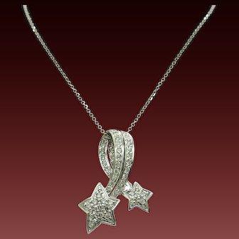 "18K Gold 0.75ctw G-VS Round Diamond Shooting Star Pendant w/14K Chain Necklace-18"""