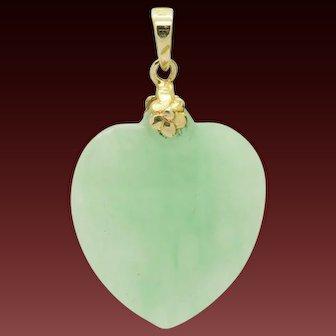 Vintage 14K Yellow Gold Natural Heart Cut Green Jade Dangle Pendant