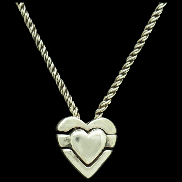 9592 Vintage 80/'s sterling silver heart shape pendant set with a clear stone necklace chain 20 inches love valentine 925