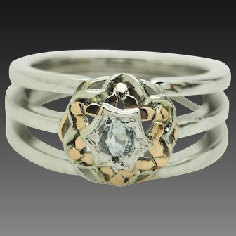 1980's Vintage 18K Two-Toned Gold 0.17ct Round Aquamarine Solitaire 3 Row Cocktail Ring 8.5
