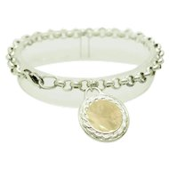 """1980's Vintage Solid Sterling Silver/925 and 14K Yellow Gold Round Charm Rolo Bracelet-7"""""""