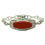 """1940's Vintage Solid Sterling Silver/925 Red Carnelian Gemstone with Round Marcasite Gemstone Accents Bracelet-7"""""""