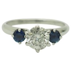 1980's Vintage 14K White Gold 1.20ctw G-I1 Round Natural Diamond Solitaire w/Blue Sapphire Accents 3-Stone Engagement Ring