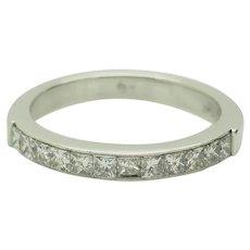 1990's Vintage Solid Platinum 0.75ctw G-VS2 Princess Cut Natural Diamond Wedding Band 6.25