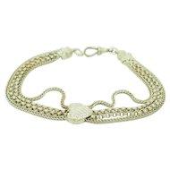 "1980's Vintage Solid Sterling Silver/925 4-Strand Chain Heart Bracelet-9.5"""