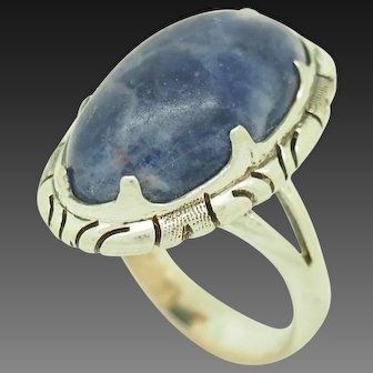 1980's Vintage Solid Sterling Silver/925 Oval Blue Lapis Lazuli Cocktail Ring 6