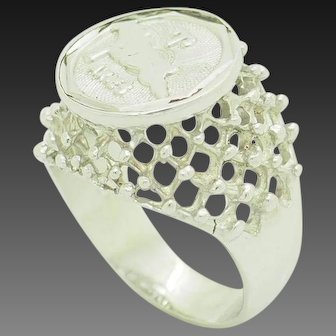 1990's Vintage Solid Sterling Silver/925 ARIES Horoscope Filigree Statement Ring 7.5