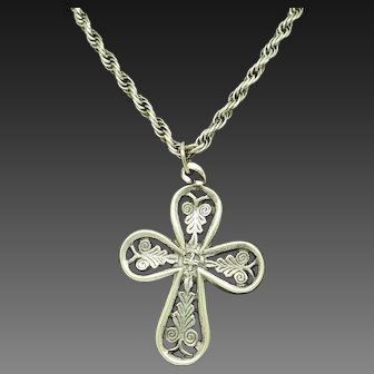 1980's Vintage Sterling Silver/925 Religious Cross Pendant Rope Chain Necklace-27""