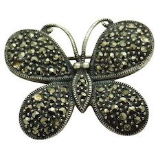 1980's Vintage Solid Sterling Silver/925 Round Black Marcasite Butterfly Brooch Pin