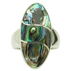 1980's CW Vintage Solid Sterling Silver/925 Oval Mother of Pearl Cocktail Ring 8