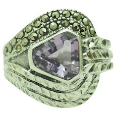 1980's Vintage Solid Sterling Silver/925 Trillion Cut Amethyst w/Marcasite Accent Cocktail Ring 7