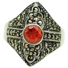 1980's Vintage Solid Sterling Silver/925 Round Cut Orange Topaz w/Marcasite Accents Filigree Cocktail Ring 7.75