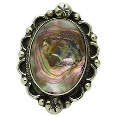 1980's Vintage Solid Sterling Silver/925 Oval Mother of Pearl Ornate Cocktail Ring 8.25