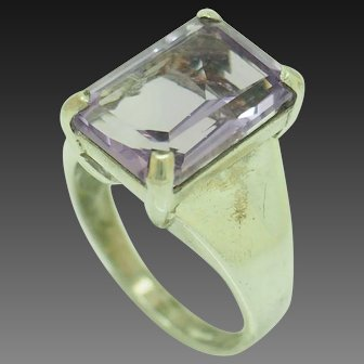 1990's Vintage Sterling Silver/925 8.50ct Emerald Cut Natural Amethyst Cocktail Ring 7