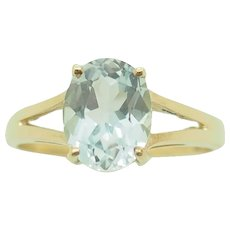 1980's Vintage Solid 10K Yellow Gold 1.85ct Oval Blue Topaz Solitaire Cocktail Ring 7