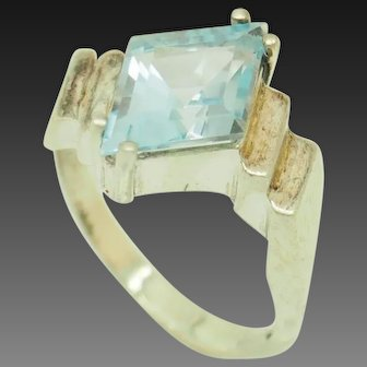 1990's Vintage Sterling Silver/925 5.50ct Rhombus Cut Blue Topaz Solitaire Cocktail Ring 5
