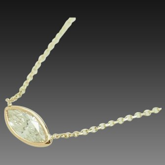 """1990's Vintage 14K Yellow Gold 0.51ct H-SI1 Marquise Natural Diamond Bezeled Solitaire Necklace-18"""""""