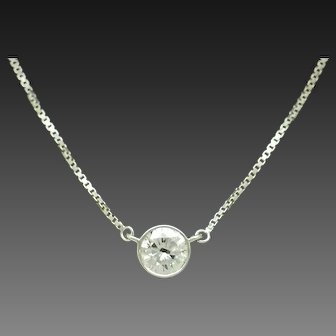 1980's Vintage 14K White Gold 0.99ct F-SI2 Round Natural Diamond Bezeled Solitaire Box Chain Necklace-16""