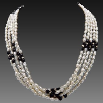 """1960's Vintage 14K Yellow Gold 5-Strand 4mm Freshwater Pearl & Onyx Filigree Clasp Necklace-18"""""""