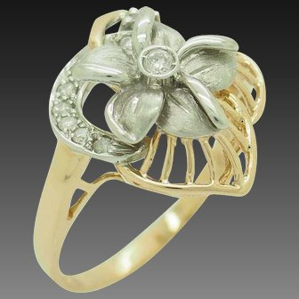 1990's Vintage 14K Two-Toned Gold 0.17ctw G-SI Round Diamond Filigree Flower Cocktail Ring 8