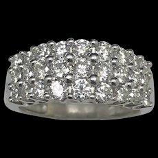 1990's 14K White Gold 2.00ctw G/VS-SI Round Cut Natural Diamond Wedding Band Ring 7