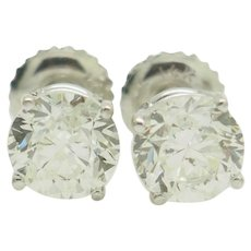 1990's Vintage 14K White Gold 2.02ctw H-SI1 Round Natural Diamond 4-Prong Stud Screwback Earrings