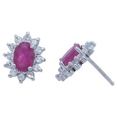 1990's Vintage 14K White Gold 1.50ctw Oval Cut Red Ruby w/Diamonds Accents Stud Earrings