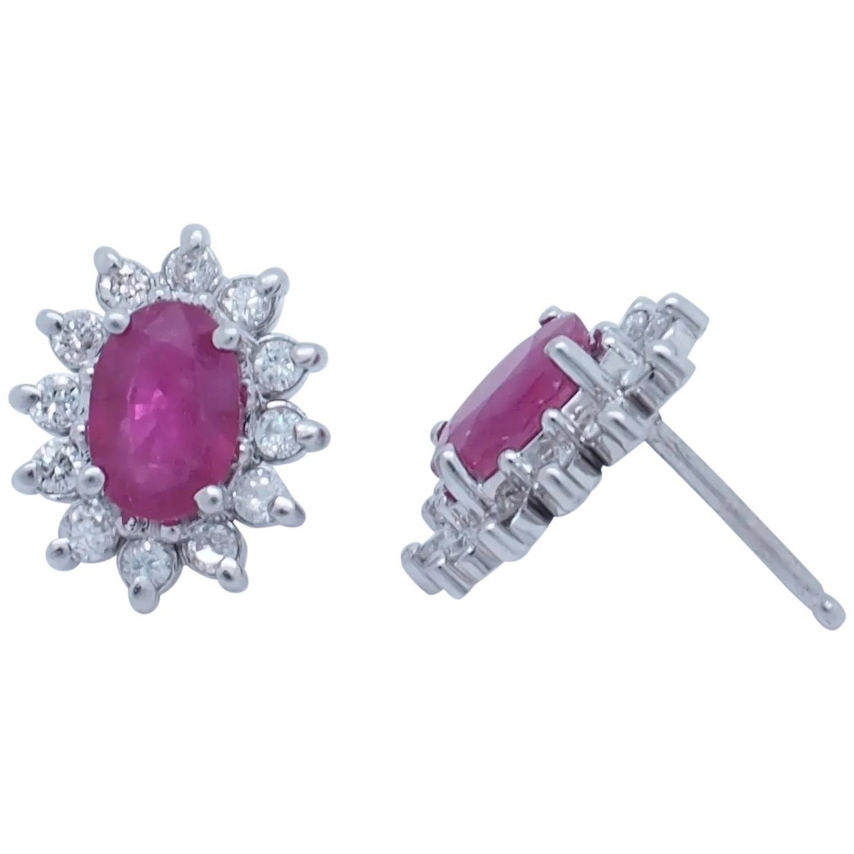 1.00CTW 6mm X 4mm  OVAL  RUBY STERLING SILVER STUDS-