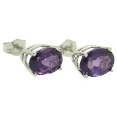 1990's Vintage 14K White Gold 2.40ctw Oval Cut Natural Amethyst 4-Prong Stud Earrings